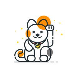 line art style of japanese lucky cat maneki neko vector image