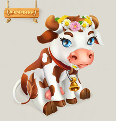 little cow funny character 3d icon vector image