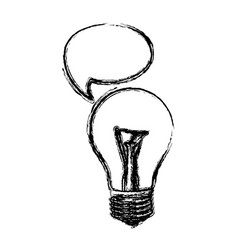Monochrome sketch of light bulb with bubble speech vector