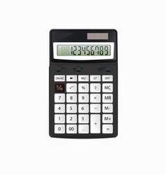 realistic black calculator with white buttons vector image vector image