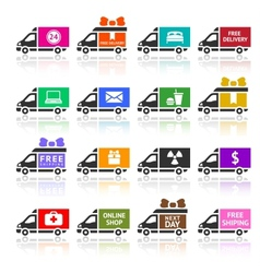Set of Cargo trucks colored icons vector image vector image