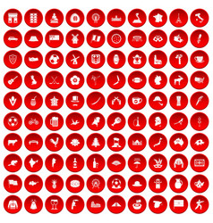 100 map icons set red vector image