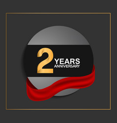 2 years anniversary logotype with golden color vector