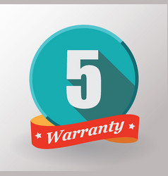 5 warranty label vector