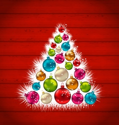 abstract Christmas tree and colorful balls on vector image