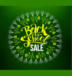 Back to school sale lettering in circle vector