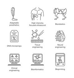 Bioengineering linear icons set biotechnology vector