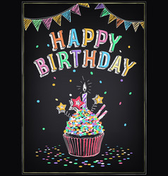 Birthday invitation card birthday cupcake with vector