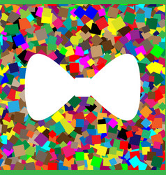 Bow tie icon white icon on colorful vector