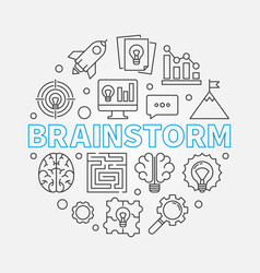 brainstorm round outline vector image