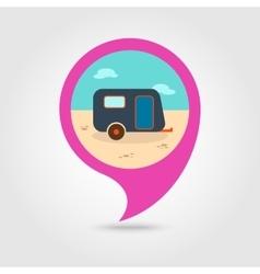 Camping trailer pin map icon Summer Vacation vector