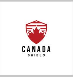 Canadian maple shield logo design vector