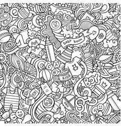 Cartoon cute doodles hand drawn baby seamless vector