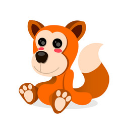 cartoon fox sitting on white vector image