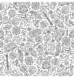 Cartoon hippie seamless pattern vector
