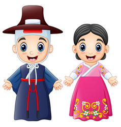 cartoon korean couple wearing traditional costumes vector image