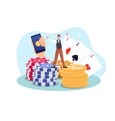 Casino room poker table gambling winning cards set vector
