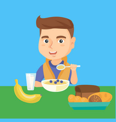 Caucasian boy eating porridge for breakfast vector