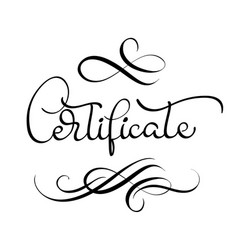 certificate word with flourish on white background vector image