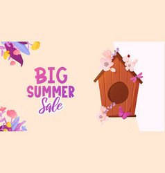 Colorful flowers birdhouse and text ad banner vector