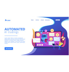 crypto trading bot concept landing page vector image