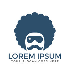 curly hair guy with mustache and goggles logo vector image