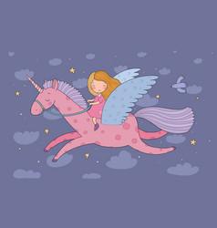 Cute cartoon girl flies on a pegasus princess and vector