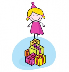 Cute smiling kid with presents vector