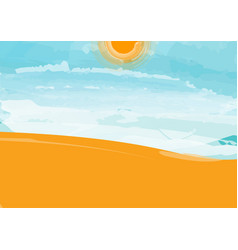 desert landscape with blue sky cloud and sun vector image