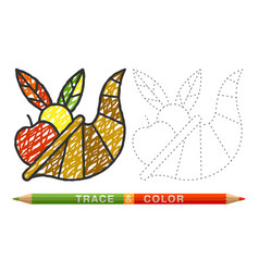 Dotted line and coloring crayon cornucopia icon vector
