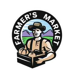 farmer with vegetables vector image