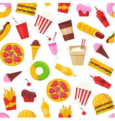 fast food seamless pattern cartoon vector image