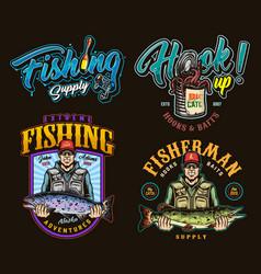 Fishing colorful vintage logos vector