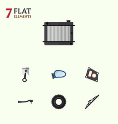 Flat auto set of conrod wheel windshield and vector