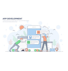 Flat line modern concept - app development vector