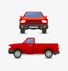flat red pickup car vehicle type design style vector image