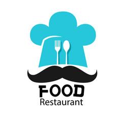 food restaurant logo chef hat mustache background vector image