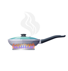 frying pan on fire in process of cooking sketch vector image