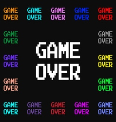 Game over concept icon sign Lots of colorful vector