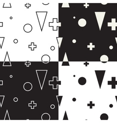 Geometric set seamless black and white pattern vector image