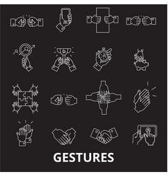 gestures editable line icons set on black vector image