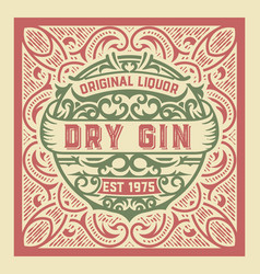 gin label design vintage style vector image