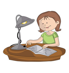 girl switching on lamp to study vector image