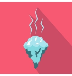 Glacier melting icon flat style vector