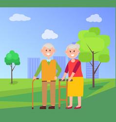 Grandparents together on walk at park in summer vector