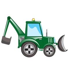 Green tractor excavator vector