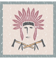 Grunge Native American chief man in tribal vector