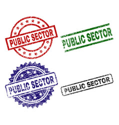 grunge textured public sector seal stamps vector image