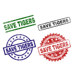 grunge textured save tigers stamp seals vector image