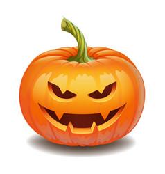 halloween pumpkin face - evil smile jack o lantern vector image